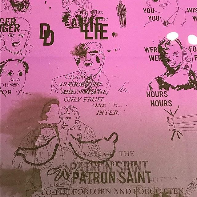 """DC Violet, Detail of monotype ans collage, """"Patron Saint if Lies"""", detail from A #CongregationOfWits a limited edition silkscreen print by Andrew Cornell Robinson @acrstudio presented by @tohellwithculture @satelliteartshow #miami #notbasel #art #artforsa"""
