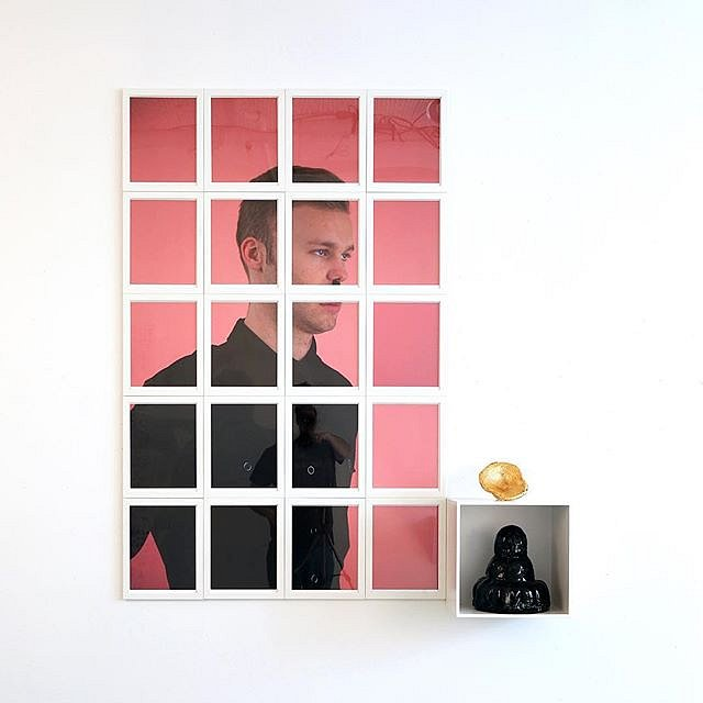 Felix version 1, 2018, color photographic print on cotton rag paper, wood, enamel, acrylic, glazed ceramic, gold leaf by Andrew Cornell Robinson for a project @tohellwithculture titled a #congregationofwits #ceramics #sculpture #gold #photograph #andrewco